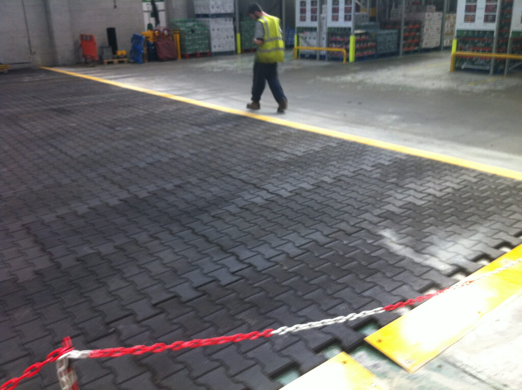 The matting is edged with a high visibility ramped cap, allowing easy access on and of the matted ares.