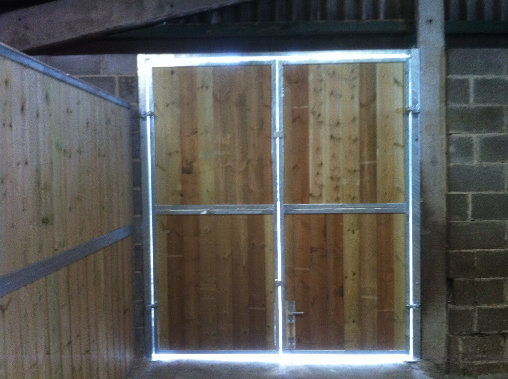 Galvenised steel frame doors and surround with timber infills are extremely robust and require minimum maintenance.