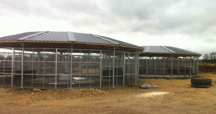 Roofs installed to existing horse walkers at a horse racing yard near Doncaster.
