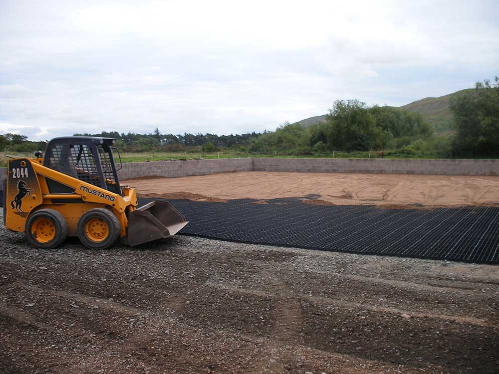 Horse Riding Arena being constructed using ecogrid as a stabalising base.
